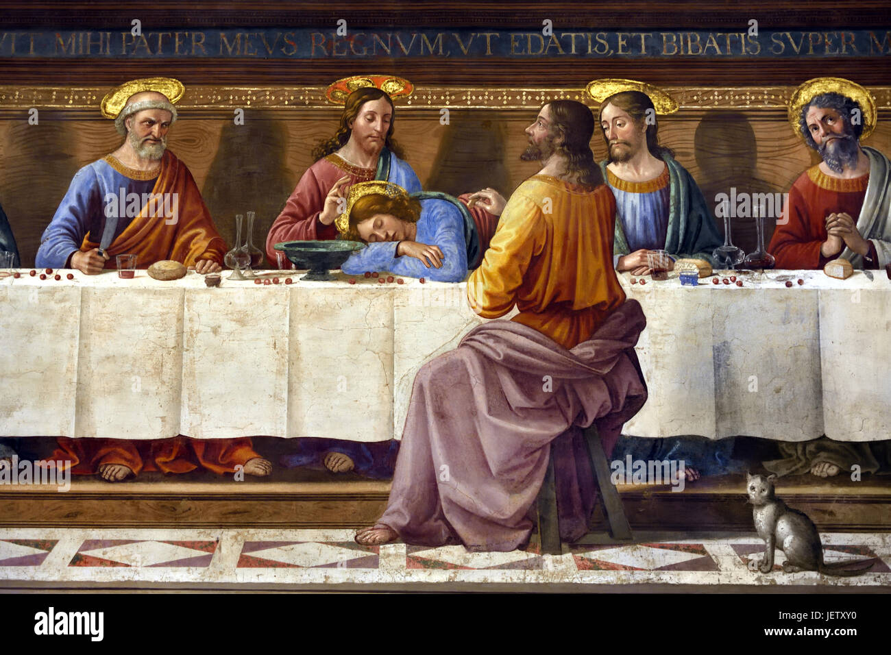 The Last Supper 1480 is a fresco depicting the Last Supper of Jesus by the Italian Renaissance artist Domenico Ghirlandaio - Stock Image