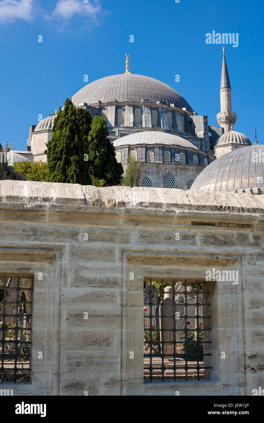 View of Islamic Mosque and graveyard in Istanbul, Turkey. Stock Photo