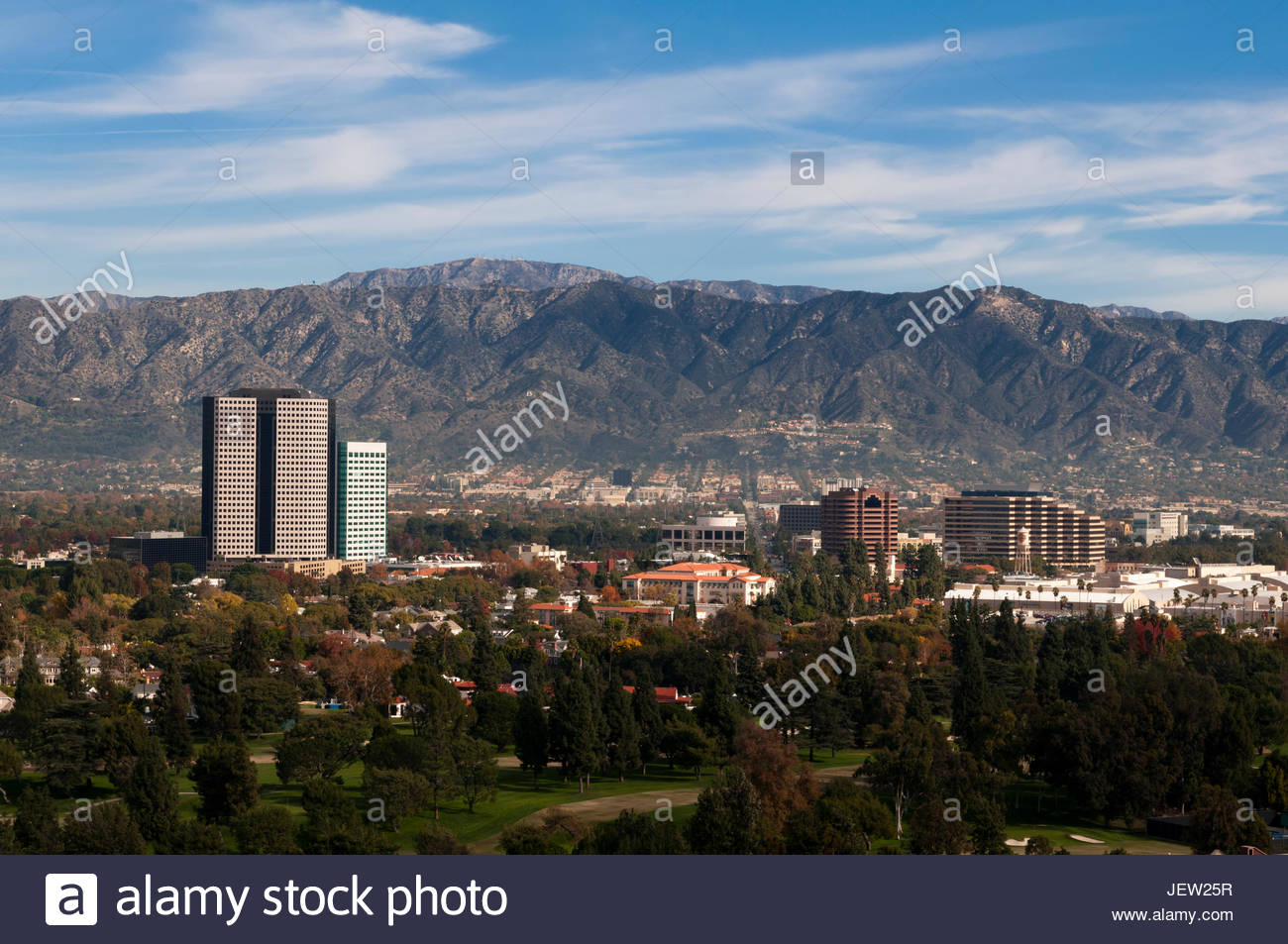 A view of Universal Studios, and the nearby mountainous landscape. - Stock Image