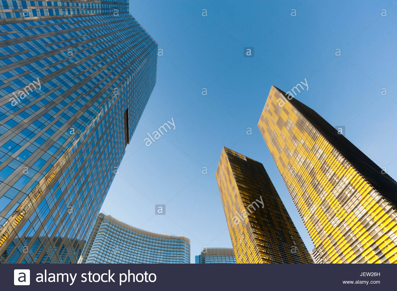 Looking up at the high rises in the City Center Complex, along the Las Vegas Strip. - Stock Image