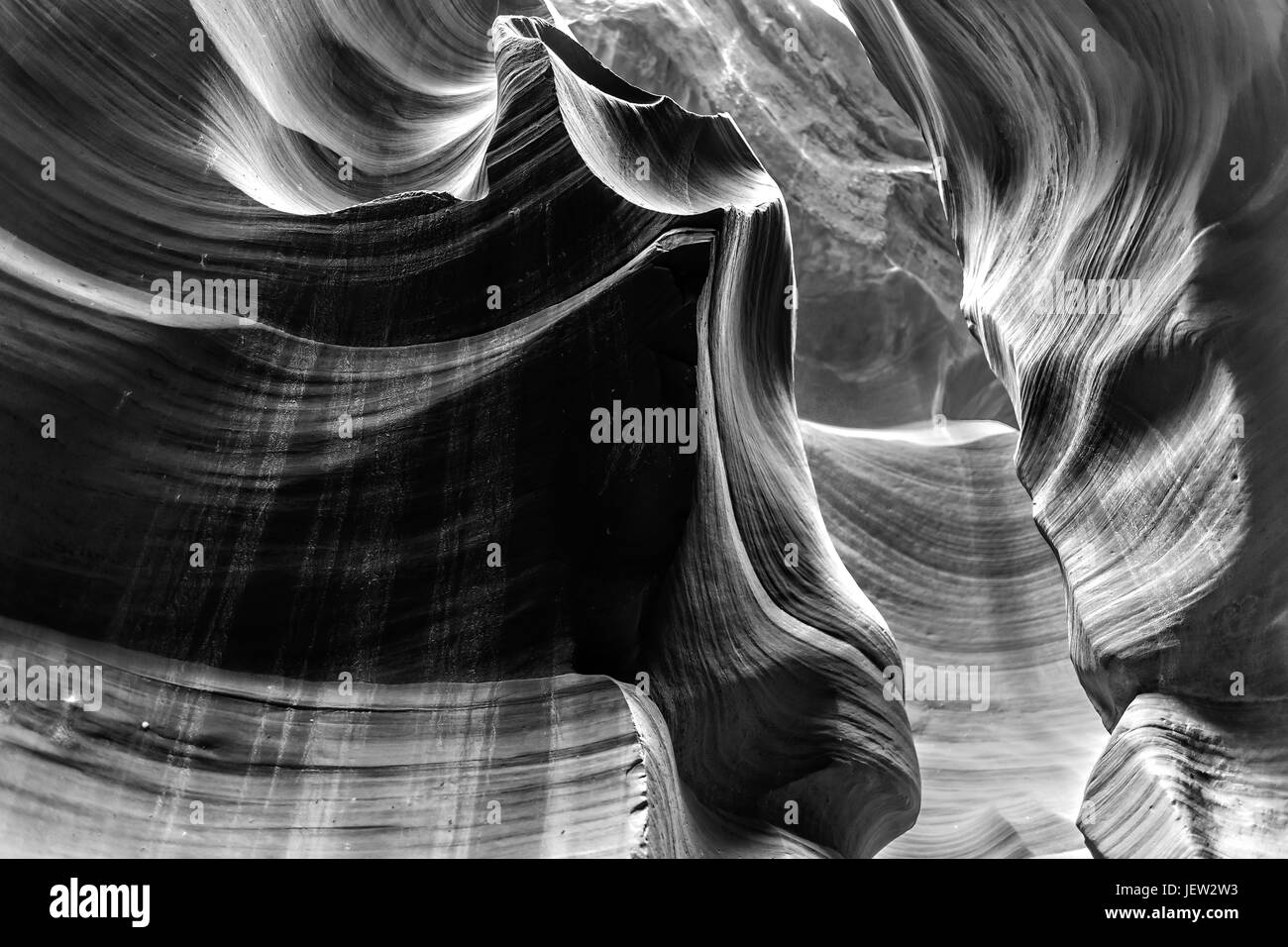 Lower Antelope Canyon in Arizona in Black and White - Stock Image