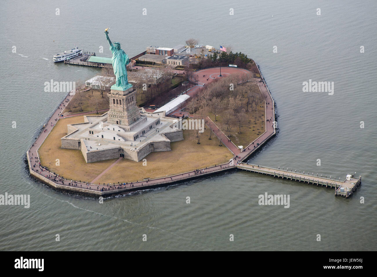 Aerial View of Liberty Island New York - Stock Image