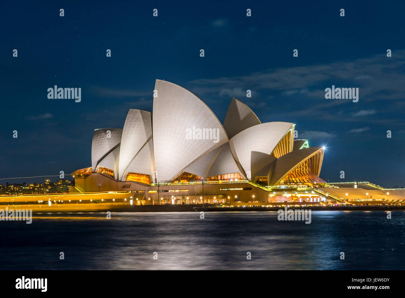 View on Sydney Opera house at night, long exposure - Stock Image