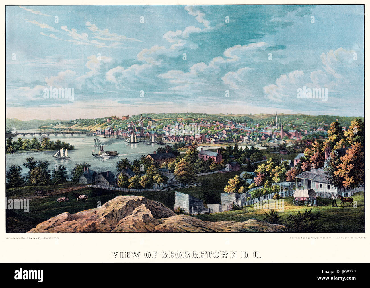 Old view of  Georgetown (Washington D.C.). Created and published by E. Sachse, Baltimore, 1855 - Stock Image
