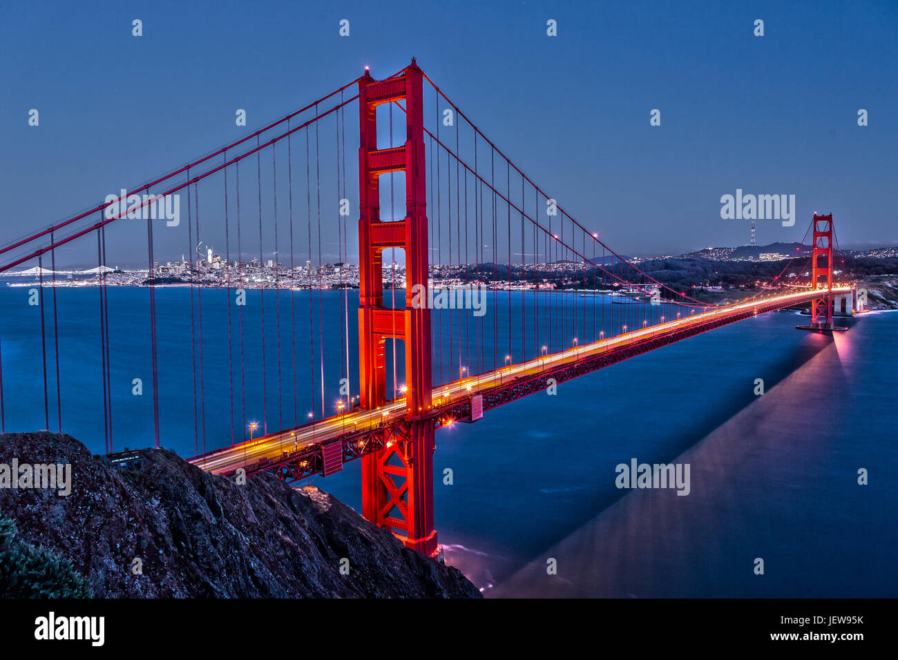 Golden Gate Bridge at Night from Marin Headlands - Stock Image
