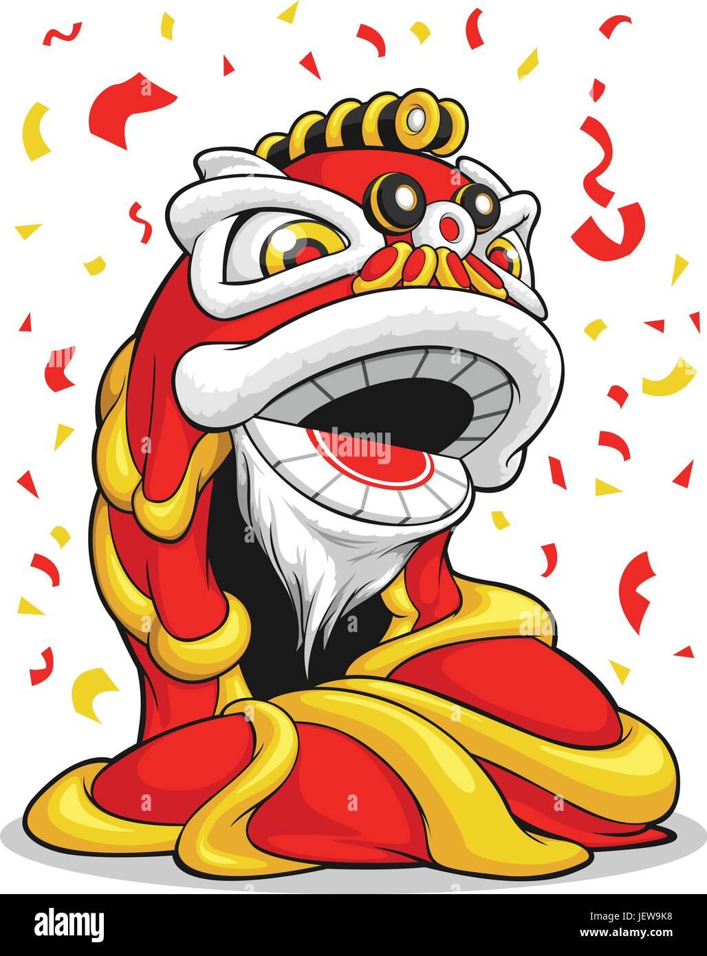 lion, cat, big cat, feline predator, party, celebration, china, chinese, new - Stock Vector