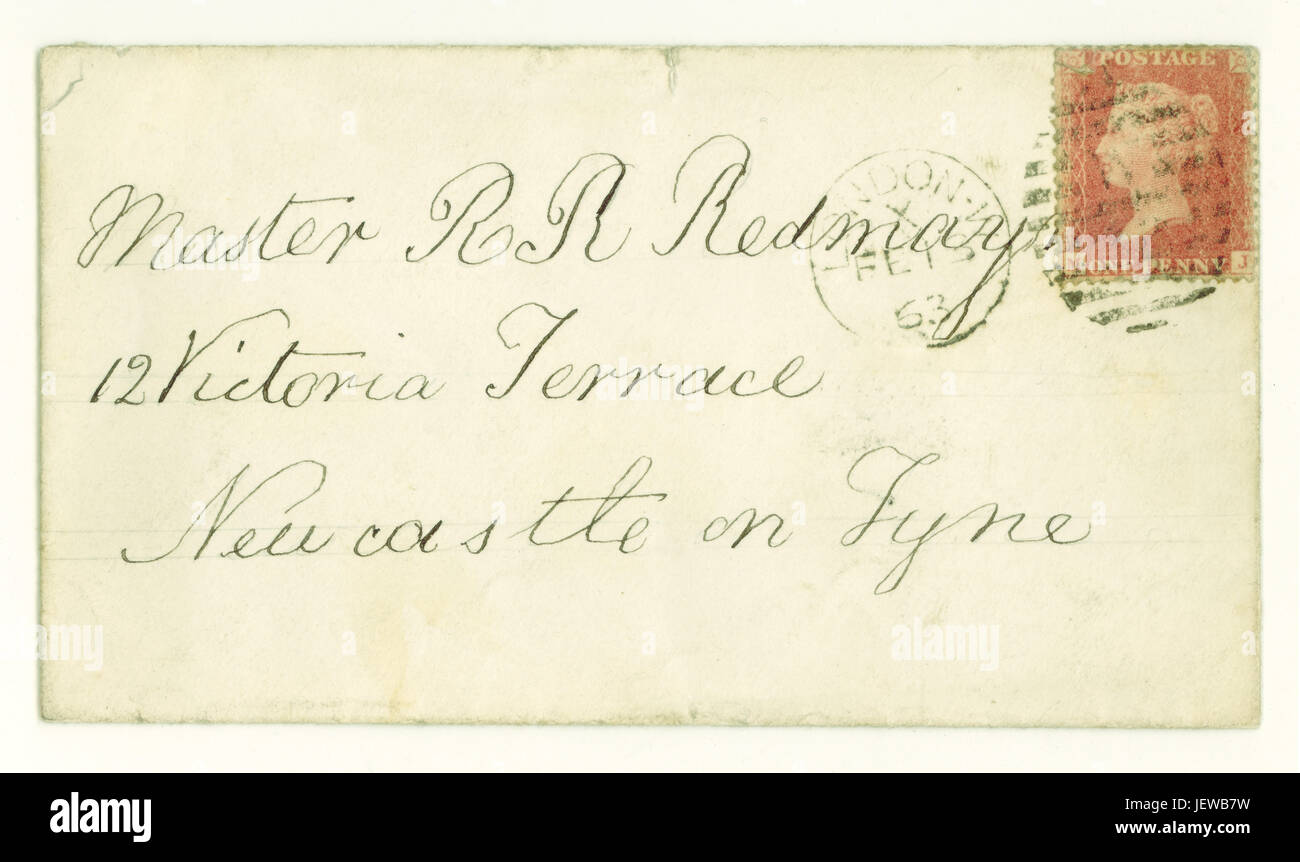 Original Victorian envelope for letter posted  from London to Newcastle on Tyne, postmarked February 1863, with - Stock Image