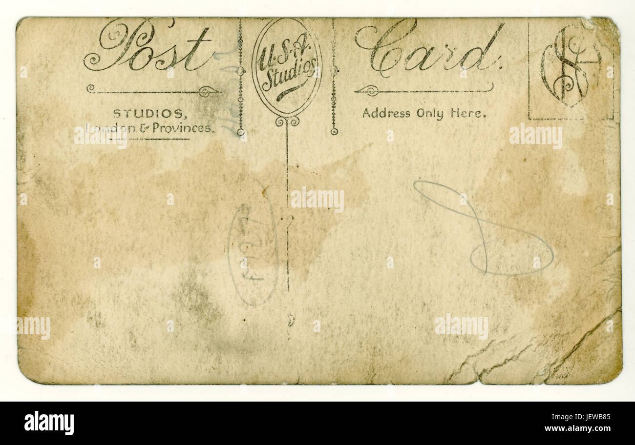 Reverse of postcard, U.K. World War 1 era, circa 1918 - Stock Image