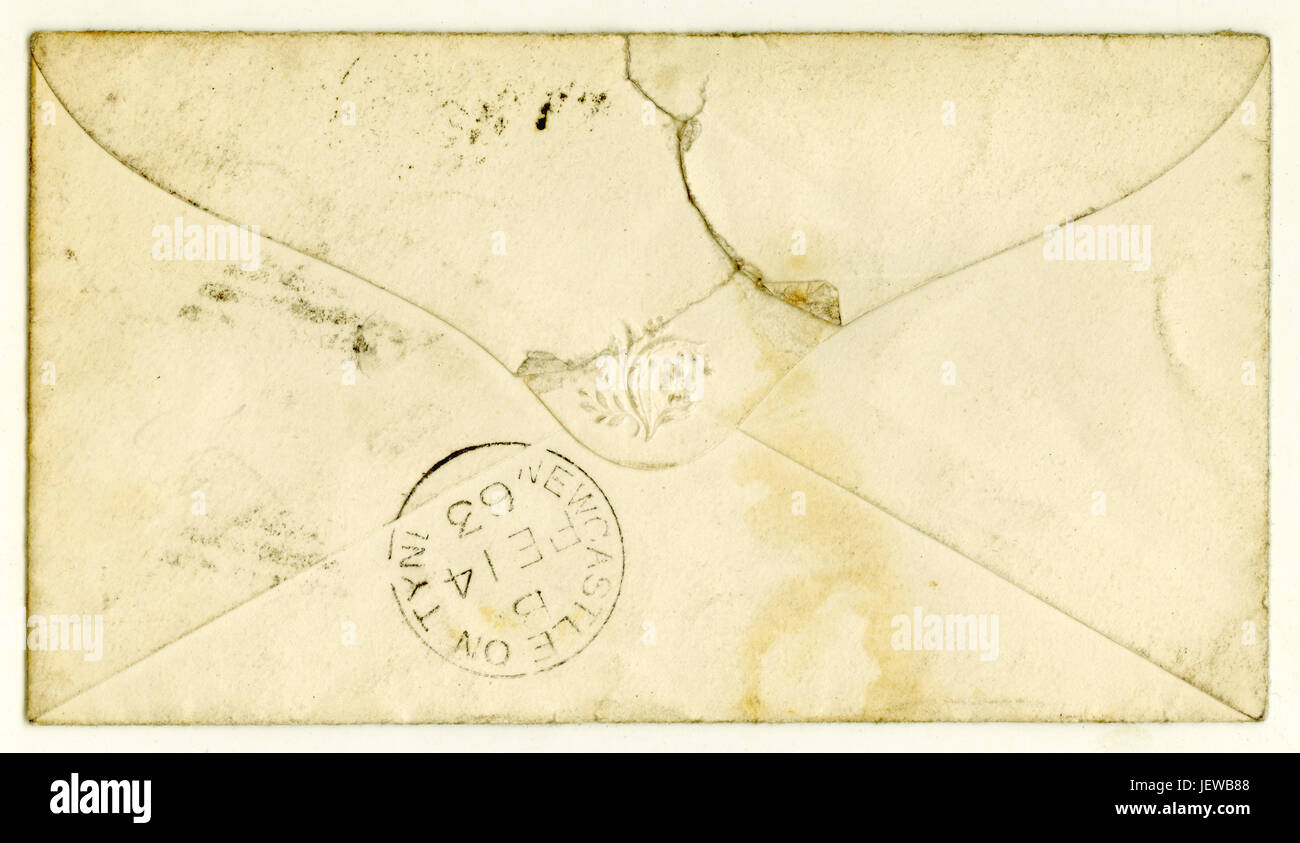 Reverse of Victorian envelope for letter posted February 1863. - Stock Image