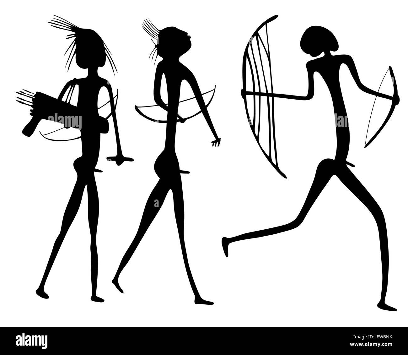 art, africa, primeval, vector, aboriginal, prehistoric, savage, haggardly, Stock Vector