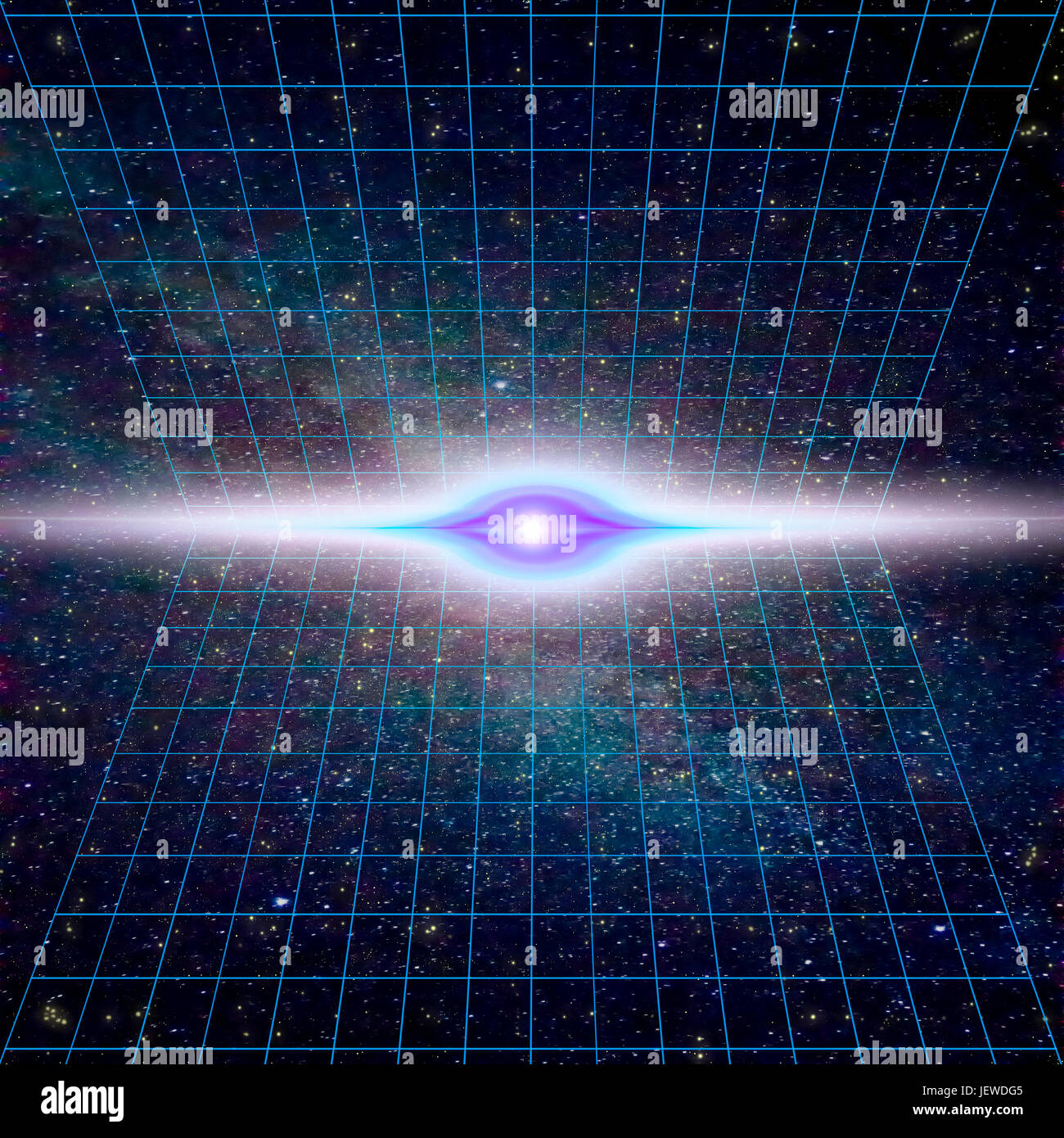 Singularity, gravitational waves and spacetime concept. Time Warp - Time Dilation. Quantum mechanics meets general - Stock Image