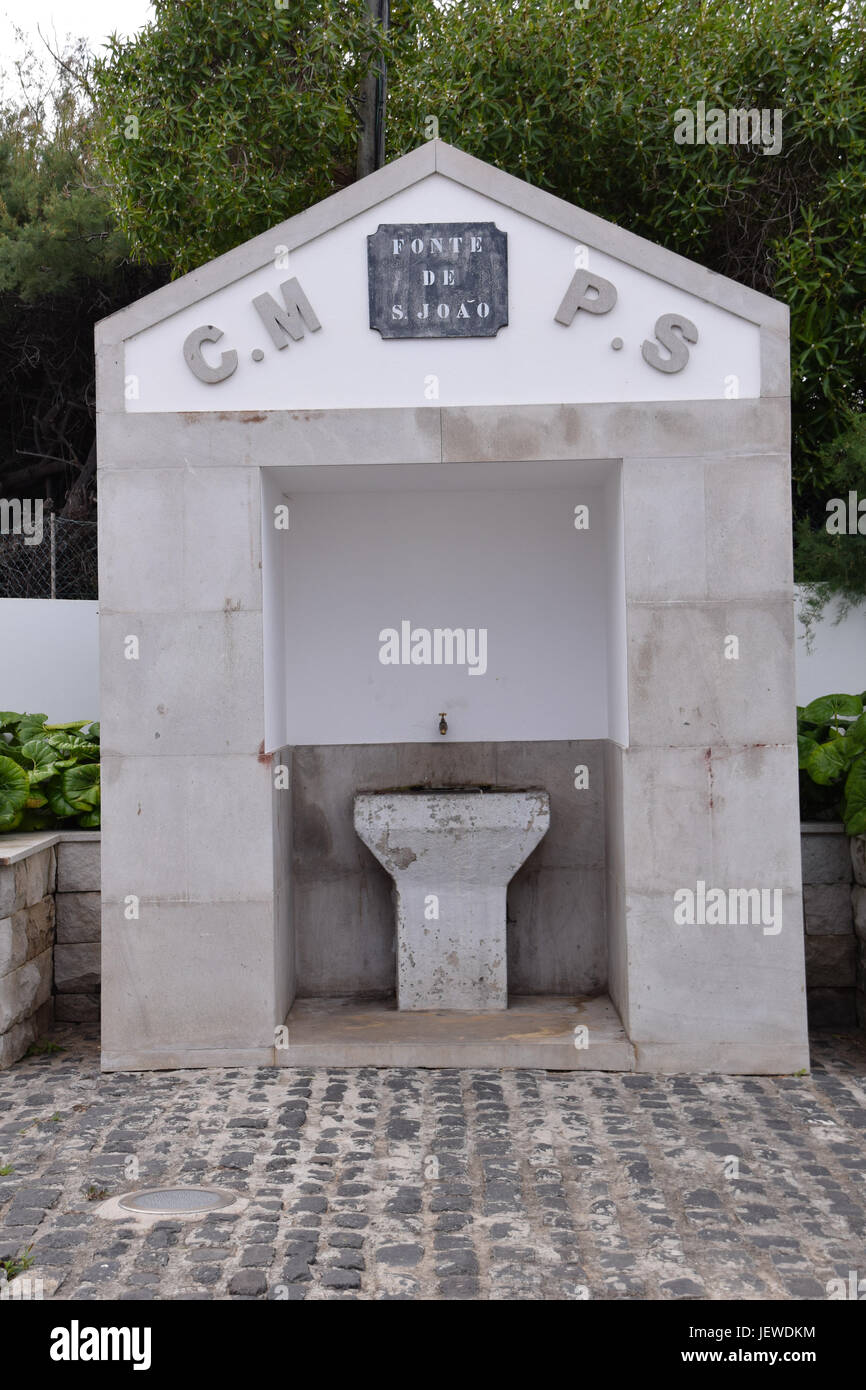 Fonte de Joao drinking fountain in the main town of Vila Baleira, Porto Santo, Portugal - Stock Image