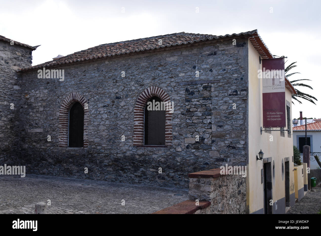 Christopher Columbus museum in the main town of Vila Baleira, Porto Santo Island, Madeira, Portugal - Stock Image