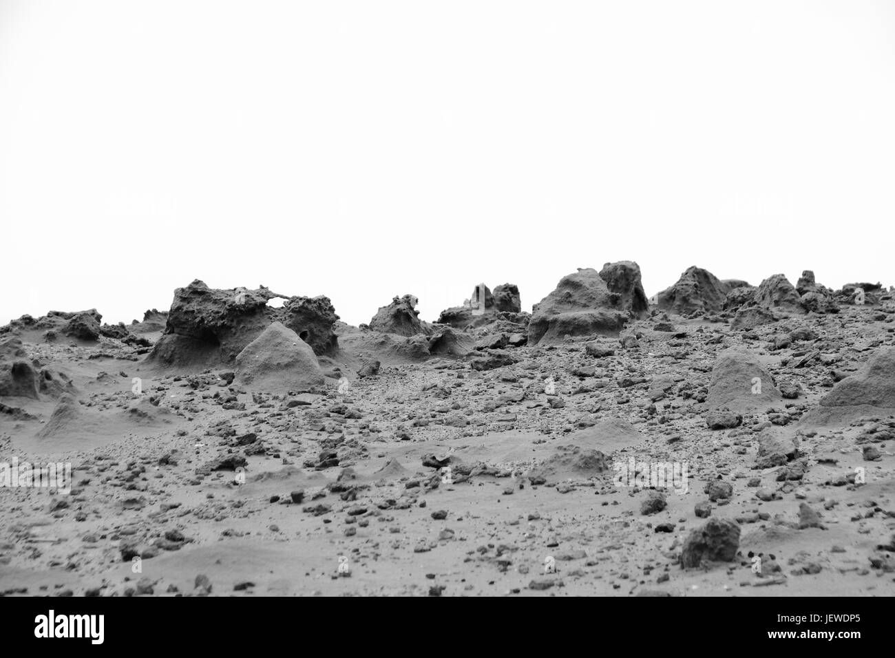 Black and white image of sand sculptures in the arid environment of Ponta da Canaveira, Porto Santo - Stock Image