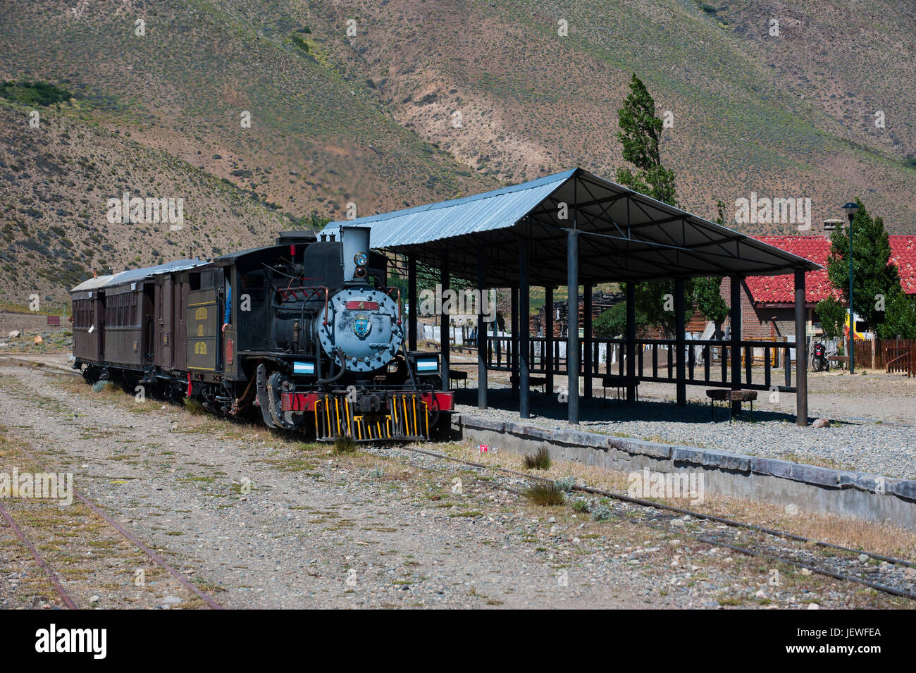 Train station of La Trochita the Old Patagonian Express  between Esquel and El Maitén in Chubut Province, Argentina, - Stock Image