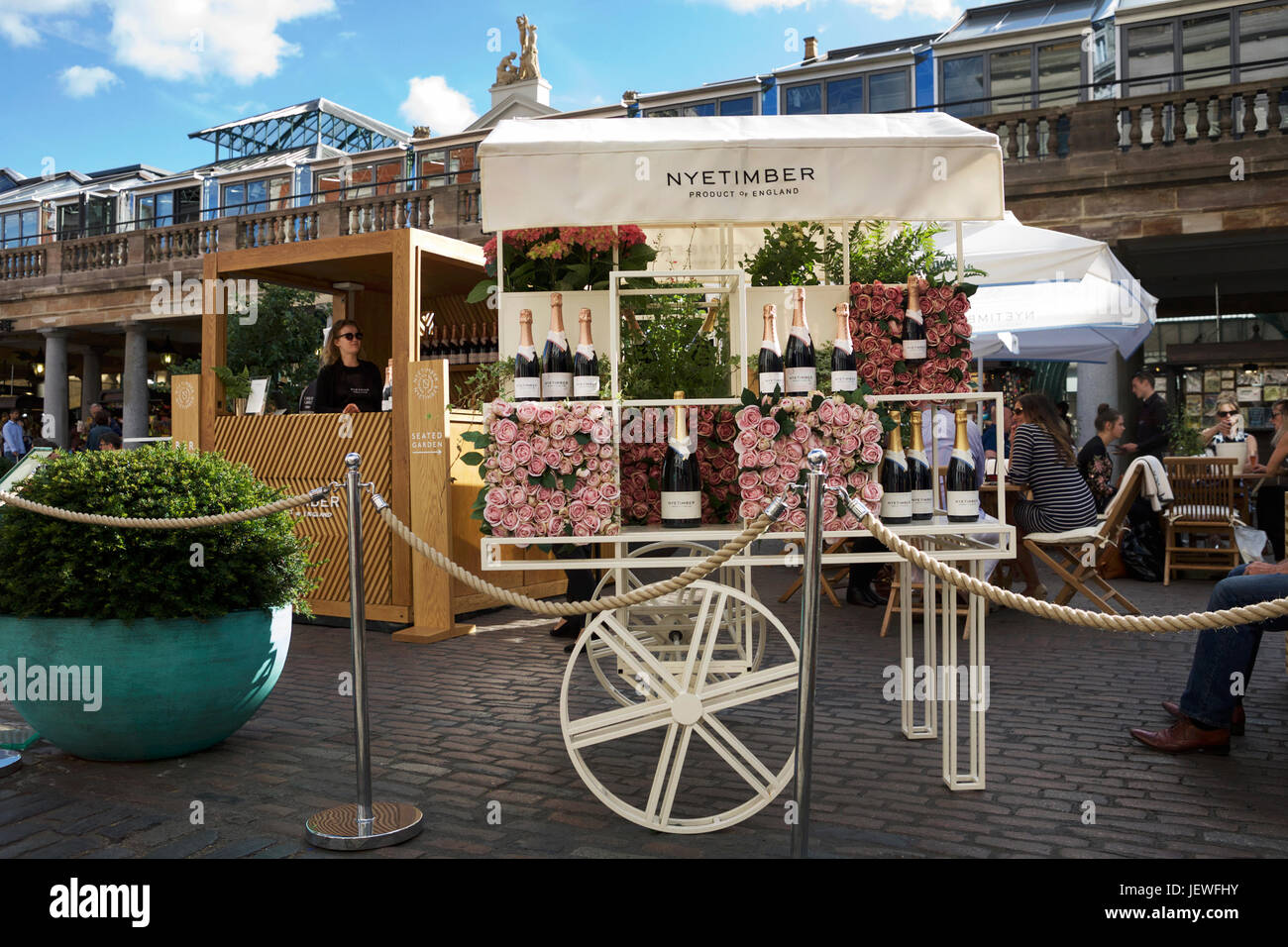 Made in England. English sparkling wine by Nyetimber, English Wine Producer. Nyetimber Garden Bar. - Stock Image