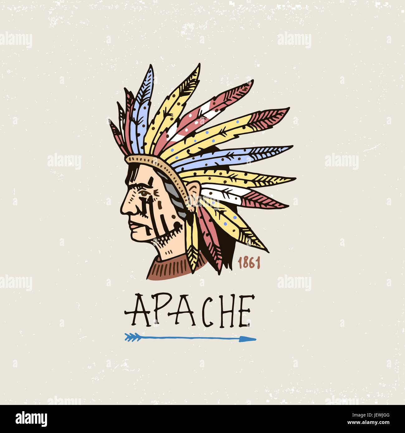 set of engraved vintage, hand drawn, old, labels or badges for indian or native american. face with feathers, comanche. - Stock Image