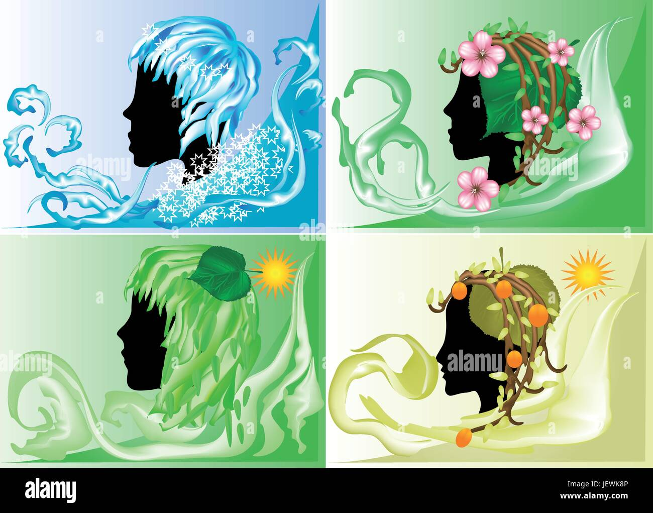 leaf, female, tree, winter, summer, summerly, four, spring, branch, silhouette, - Stock Vector