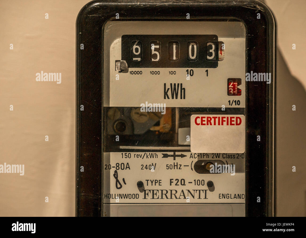 Close up of old British Ferranti F2Q-100 model electricity meter, Scotland, UK - Stock Image