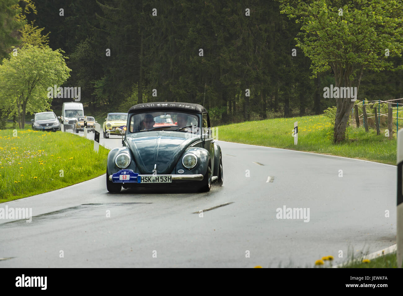 Brilon, Germany - May 13th in 2017: Oldtimer Sauerland round trip VW Käfer Cabriolet - Stock Image