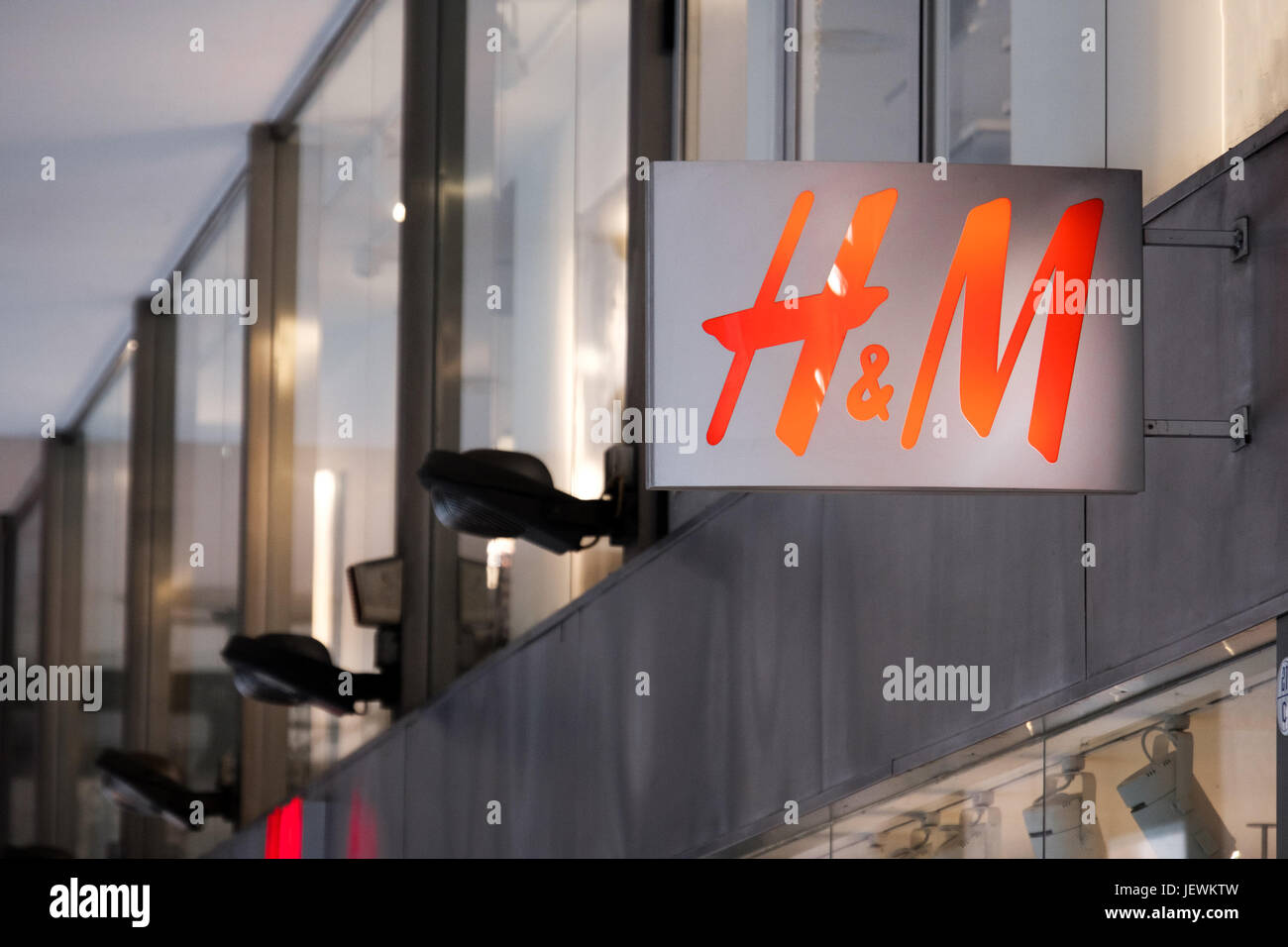 Bologna, Italy, 1 May 2017 - the H&M logo on the store sign of Bologna - Stock Image