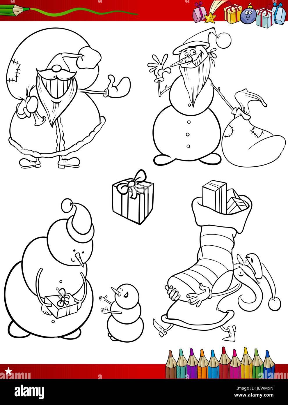 illustration, christmas, snowman, page, bookpage, cartoon, xmas, x-mas, laugh, Stock Vector