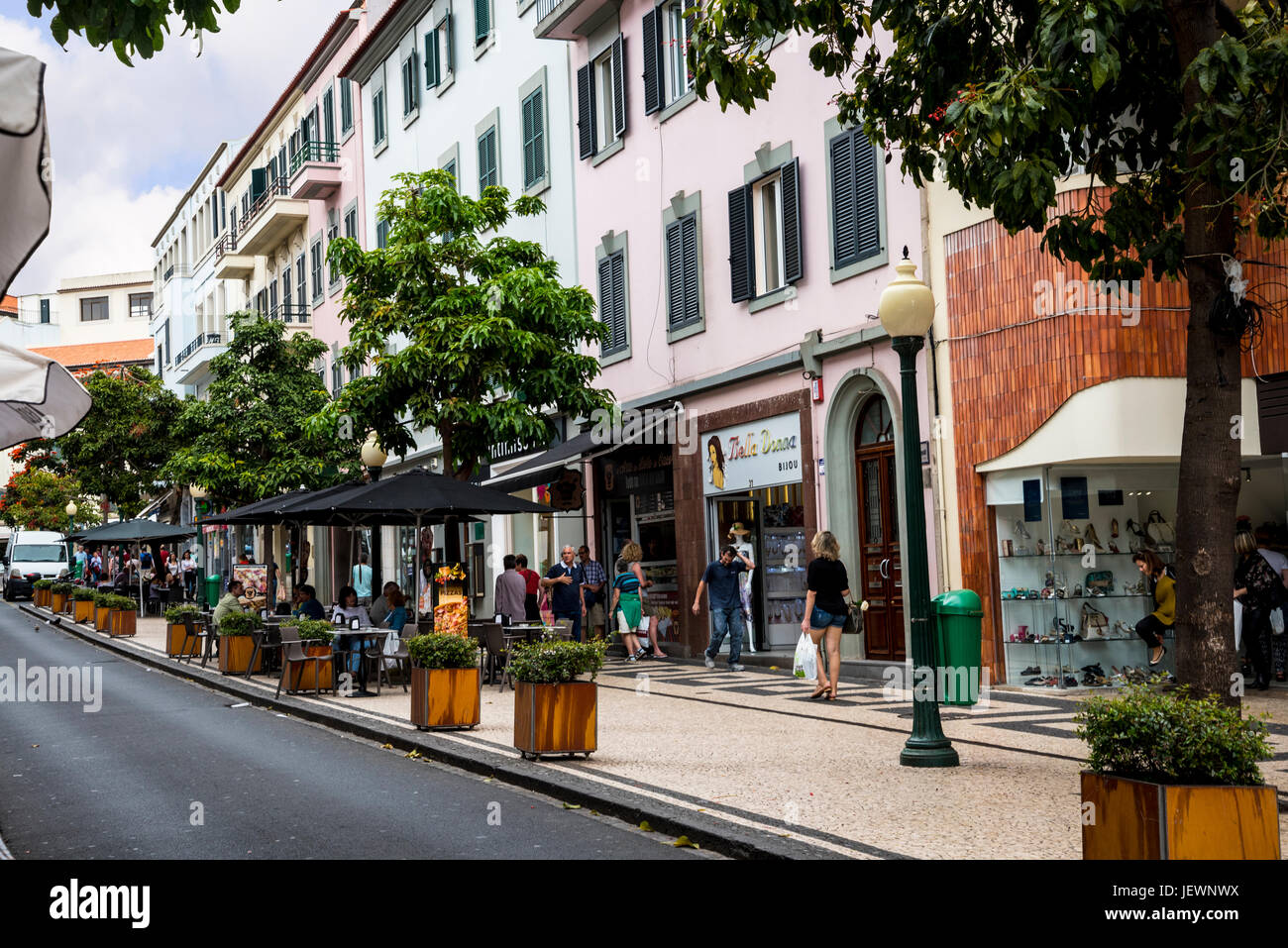 Main Shopping Streets in Funchal Madeira Portugal Stock Photo