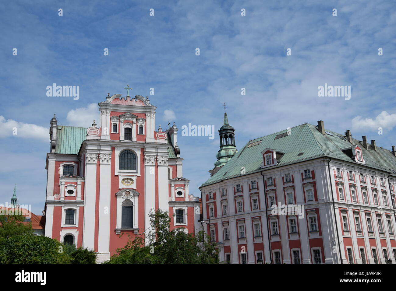 Saint Stanislaus Church and city hall in Poznan - Stock Image
