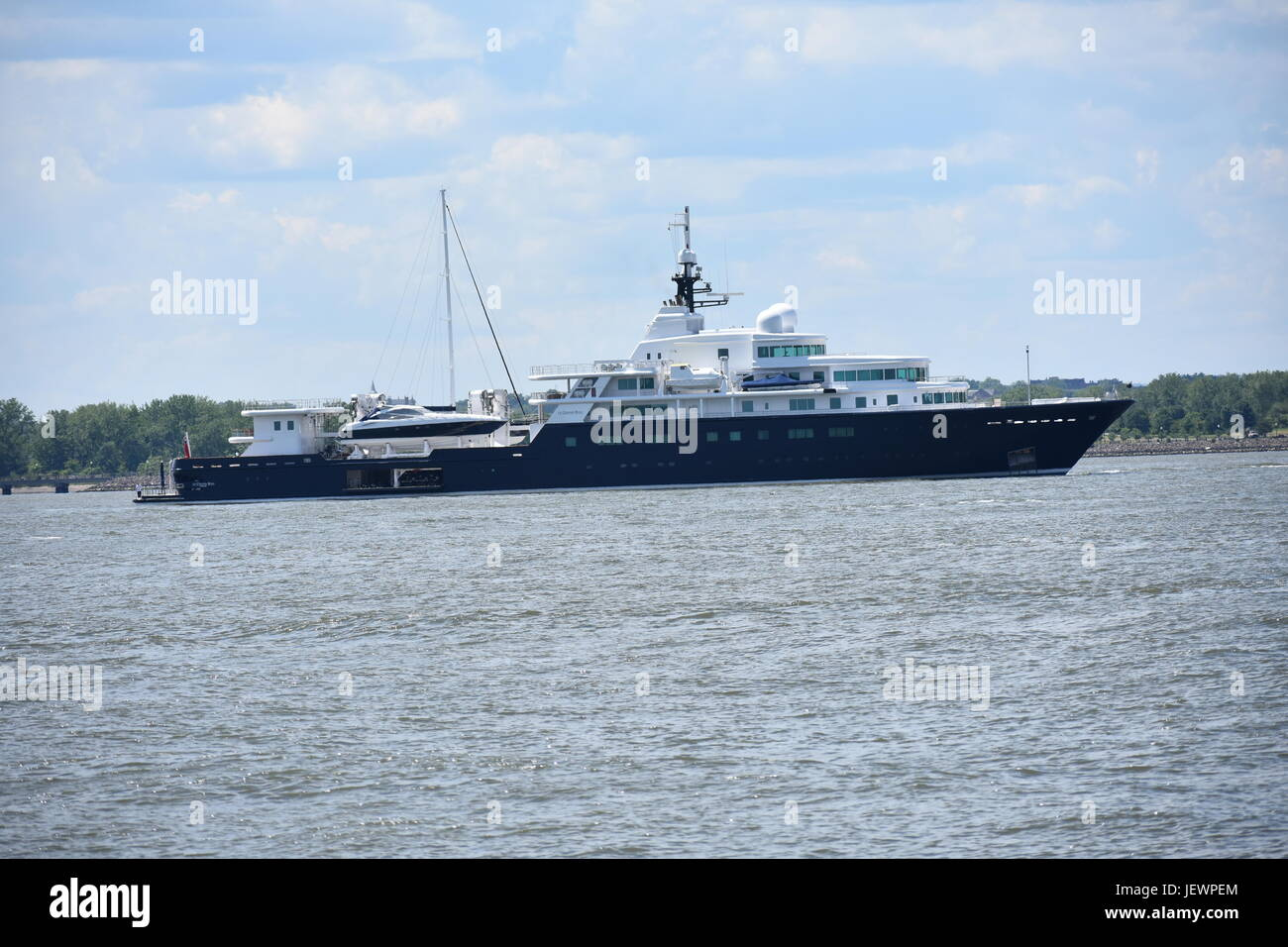 World's Largest Private Yacht 'Le Grande Bleu' docked in New York City Harbor - Stock Image