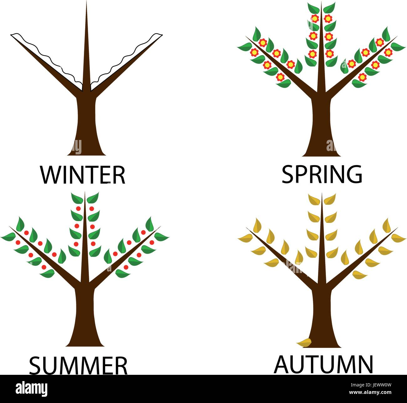 tree in four seasons - Stock Vector