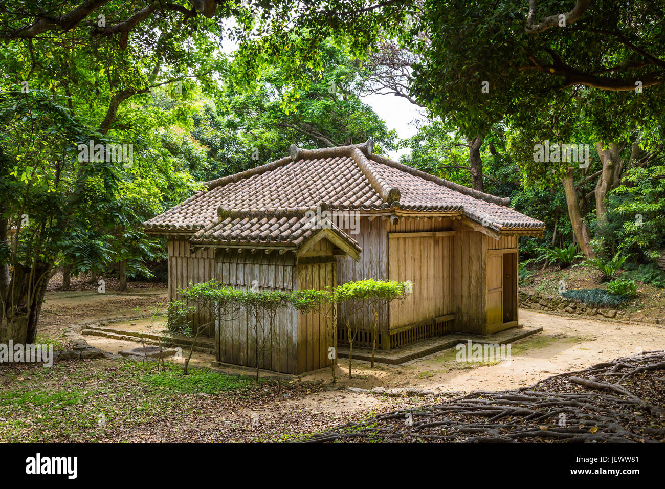 Japanese architecture at the Shurijo Castle in Naha, Okinawa, Japan. - Stock Image