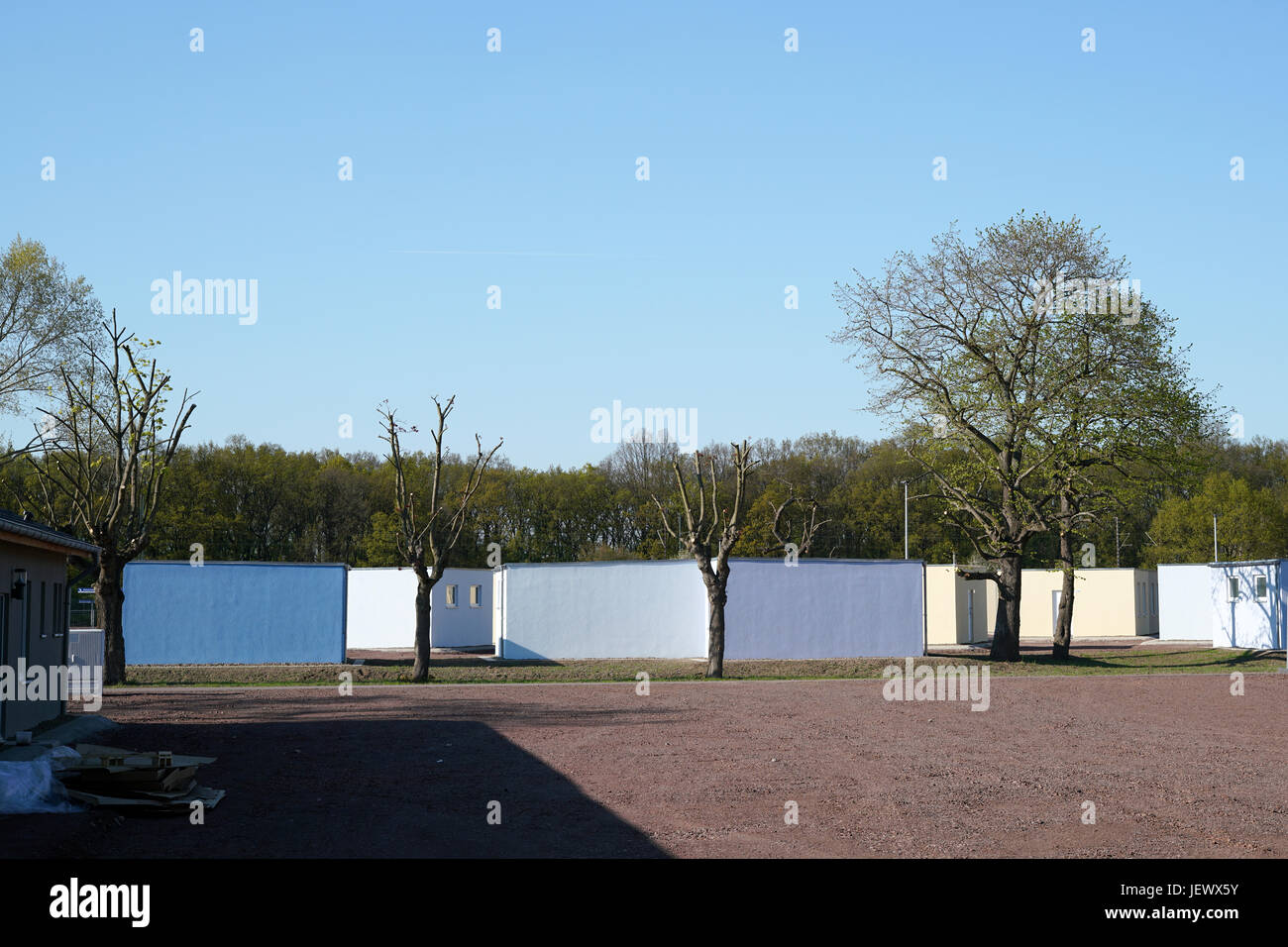 temporary shelters in Magdeburg - Stock Image