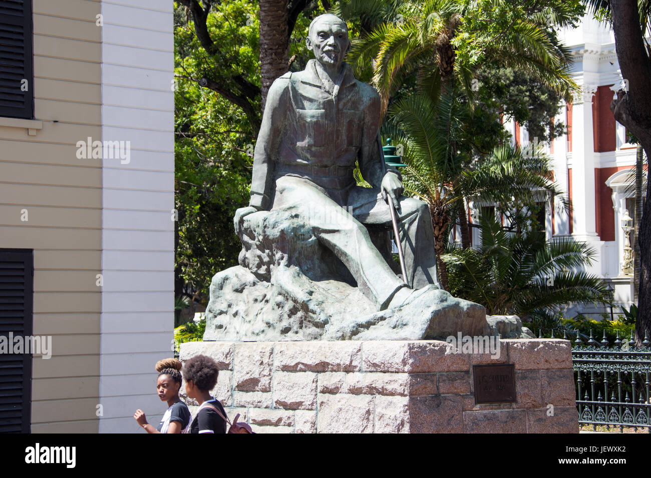 Sculpture of Prime Minister J.C. Smuts in Cape Town, South Africa - Stock Image