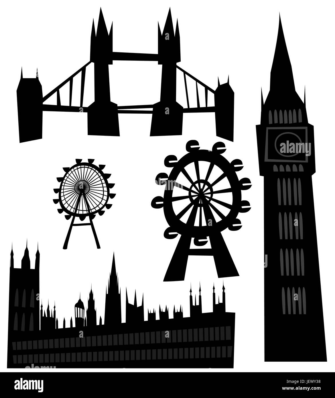 famous, tourism, sights, london, sign, landmark, vector, tower, travel, - Stock Image