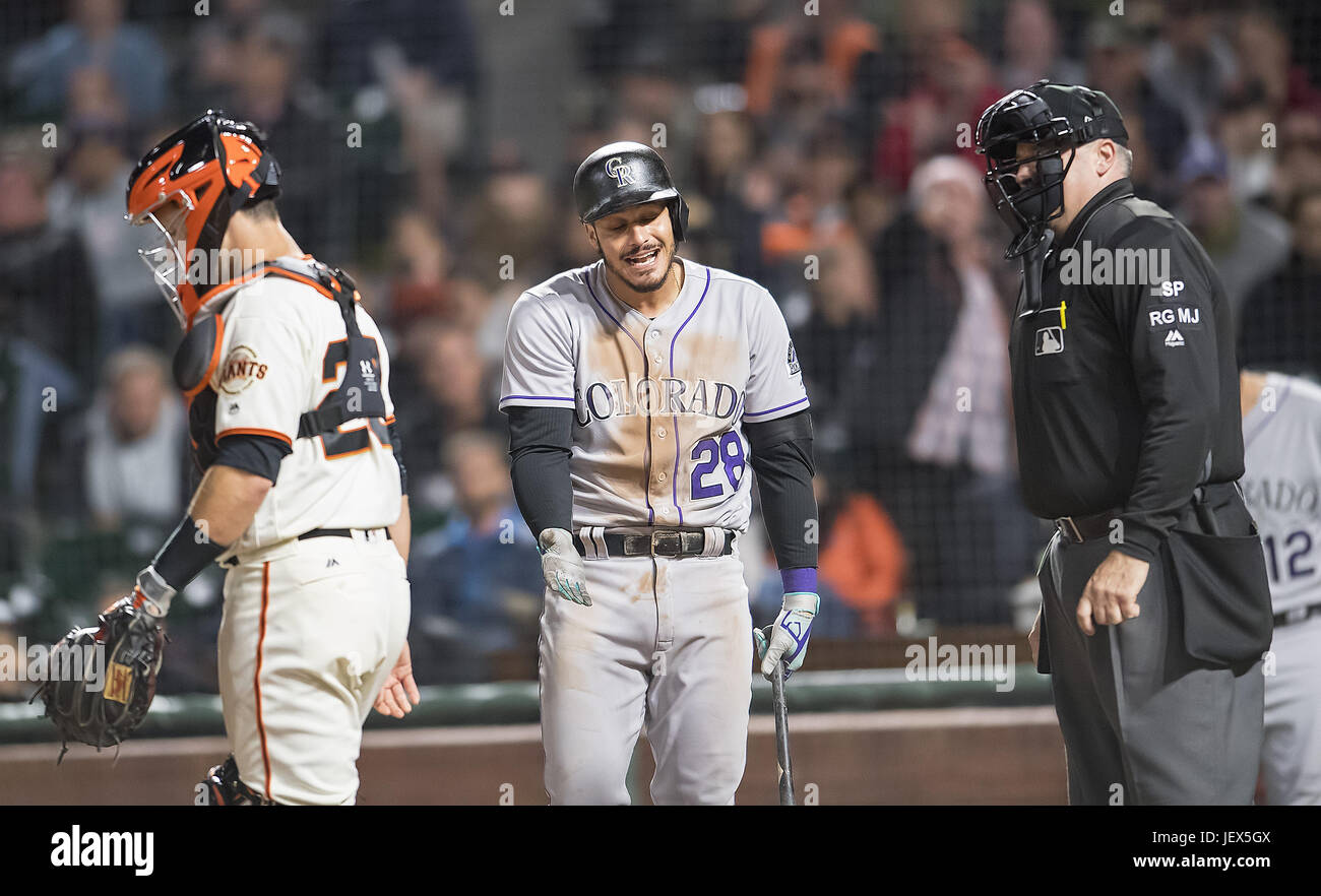 San Francisco, California, USA. 27th June, 2017. Colorado Rockies third baseman Nolan Arenado (28) disagreeing with Stock Photo