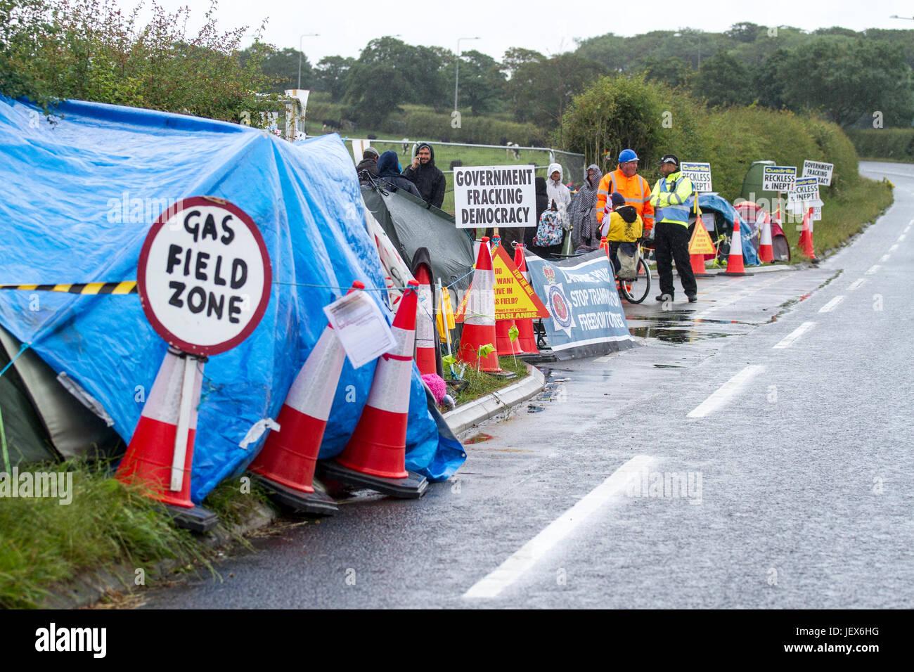 Blackpool, Lancashire, 28th June 2017. Fracking Protest continues.  Anti-fracking protesters continue to demonstrate - Stock Image