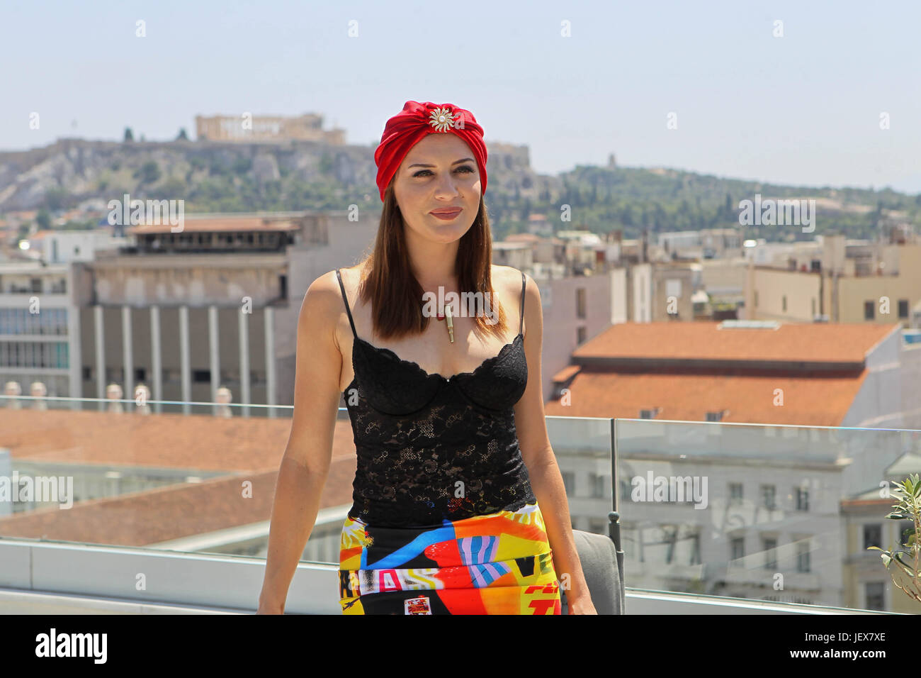 Athens, Greece. 28th June, 2017. American singer, songwriter, burlesque performer, and comedienne, Ariana Savalas - Stock Image