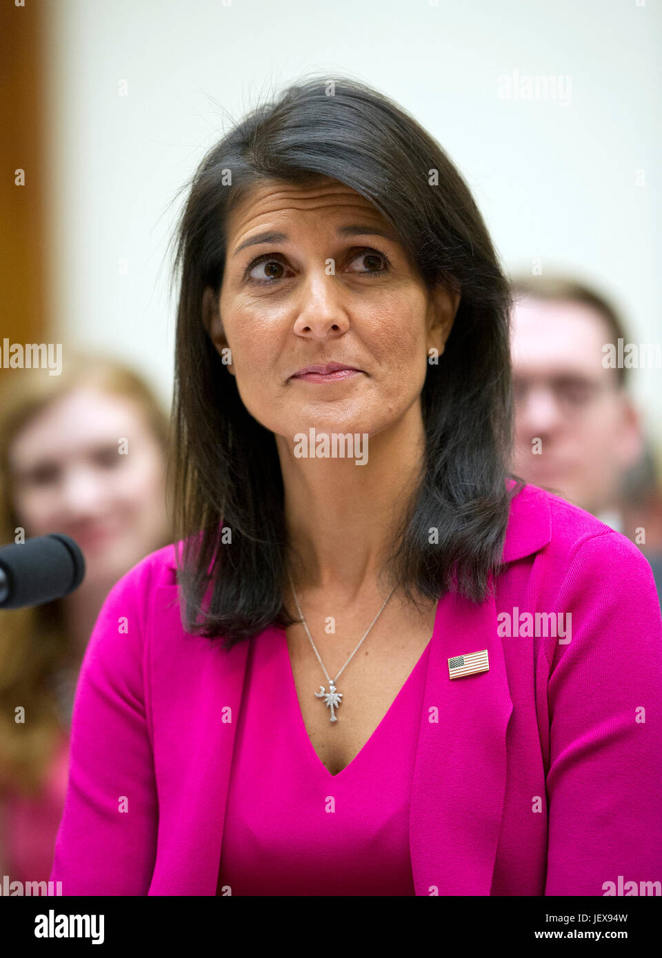 United States Ambassador to the United Nations Nikki Haley gives testimony before the US House Foreign Affairs Committee - Stock Image