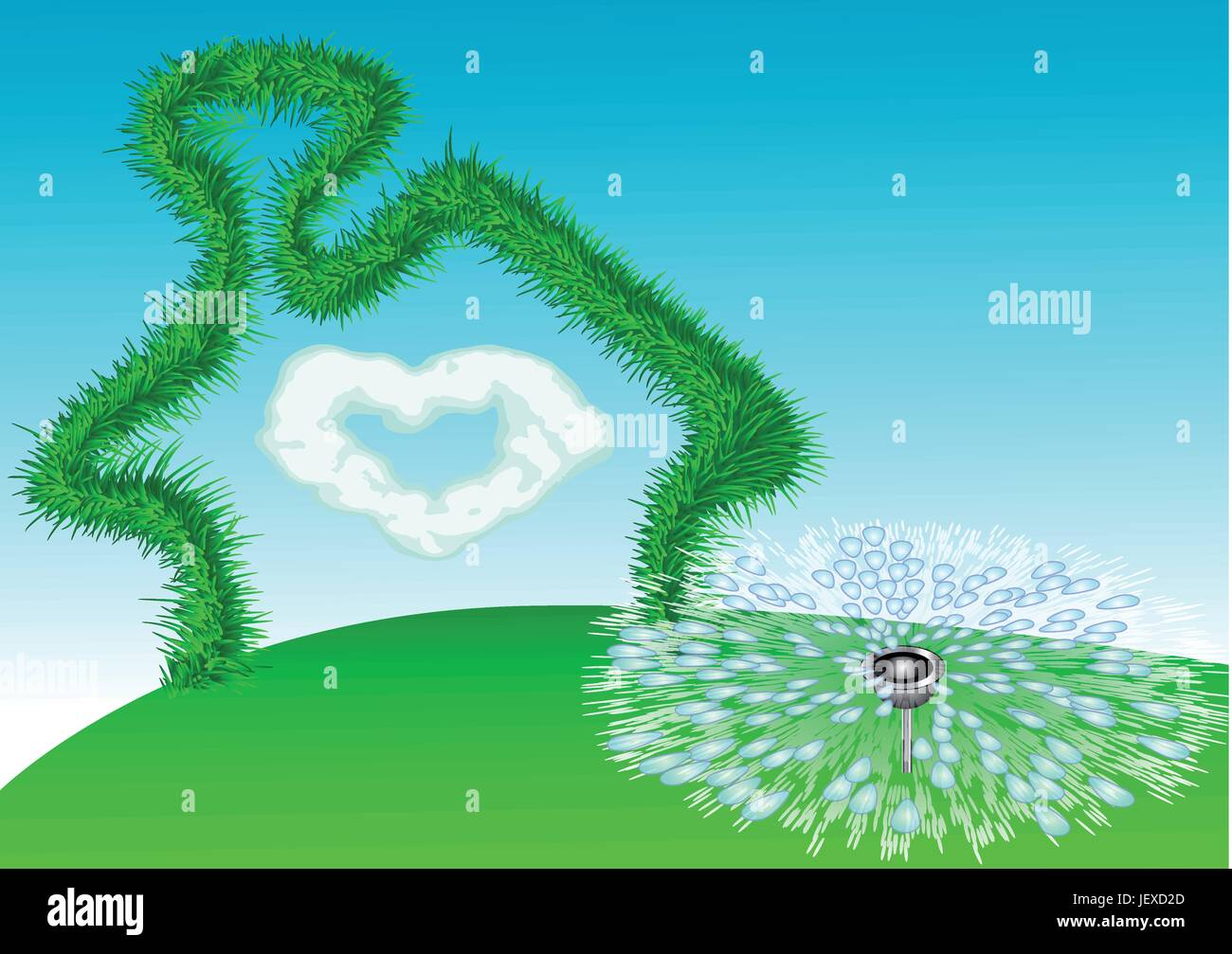 house, building, garden, cloud, summer, summerly, fantasy, dreams, imagination, - Stock Vector
