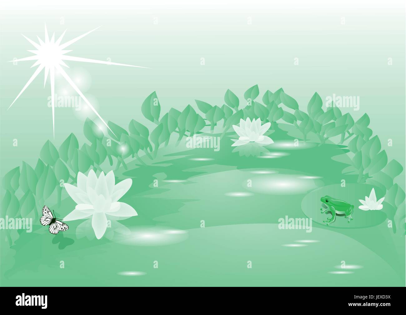 flower, plant, leaves, summer, summerly, sunlight, frog, morning, toad, fresh - Stock Vector