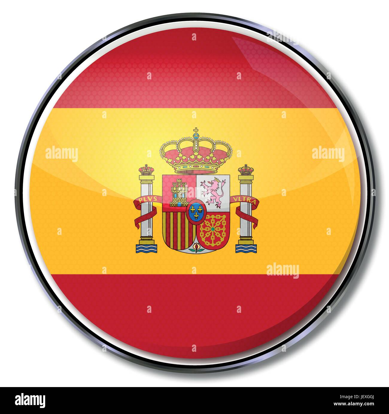 spain, flag, button, madrid, spaniard, kingdom, hispanic, spanish, euro, Stock Vector