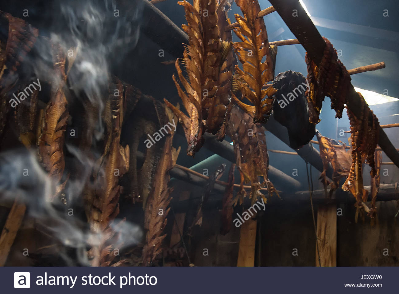 Vittrekwa family fish drying shack on the banks of the Peel River. Many families depend on the river for their food, - Stock Image
