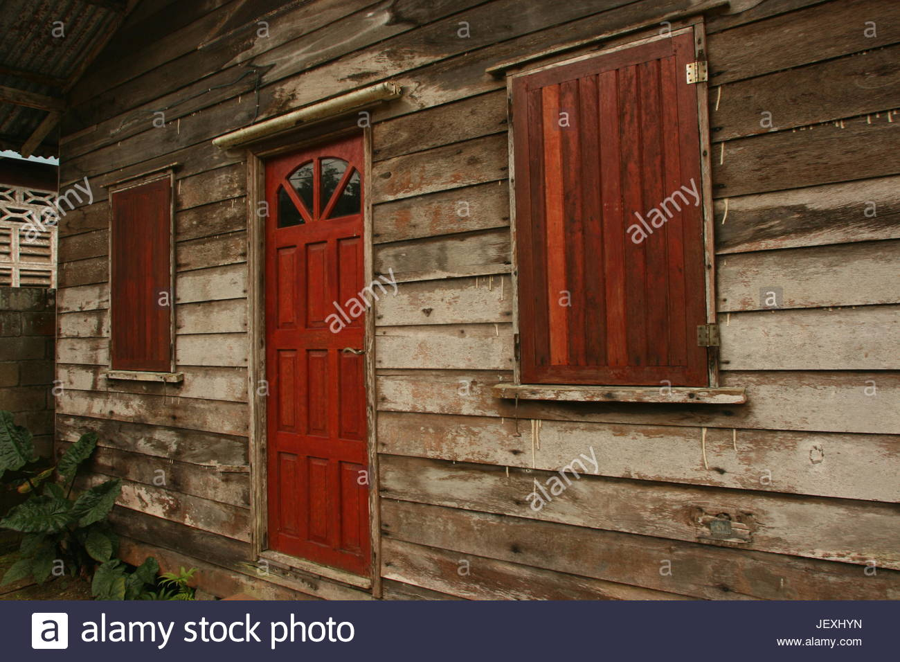 Traditional house in Paramaribo, Suriname. - Stock Image
