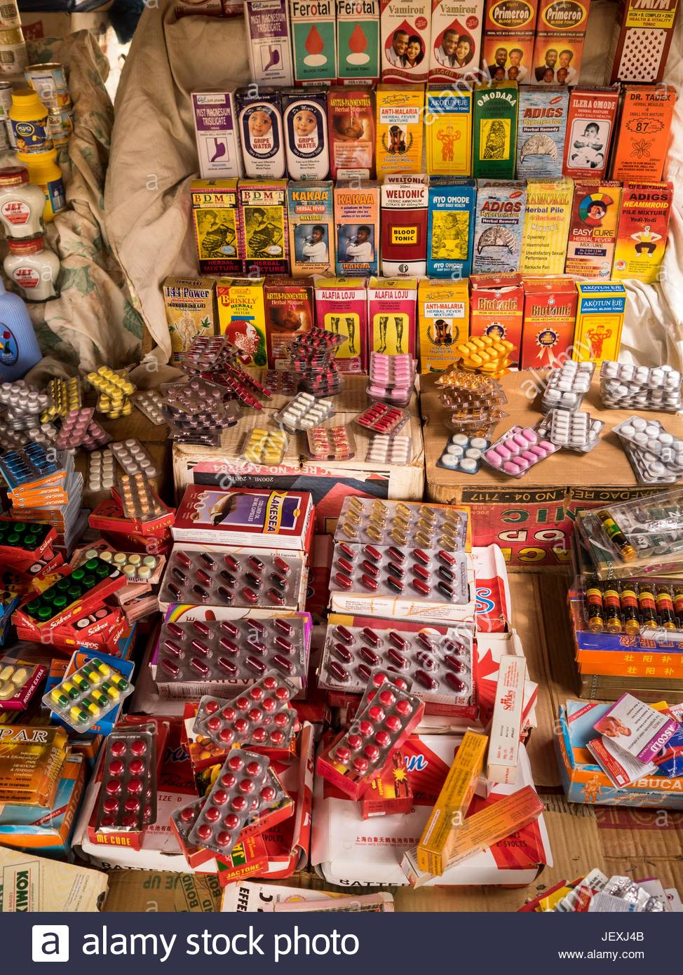 Fake medicines made in Nigeria in the Ije street market in Issaba, a district in Onigbolo. - Stock Image