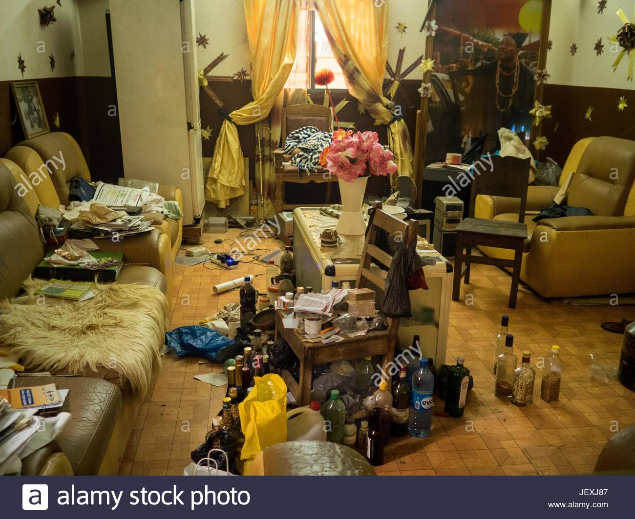 Voodoo King Akplogan's apartment with traditional medicines everywhere. - Stock Image