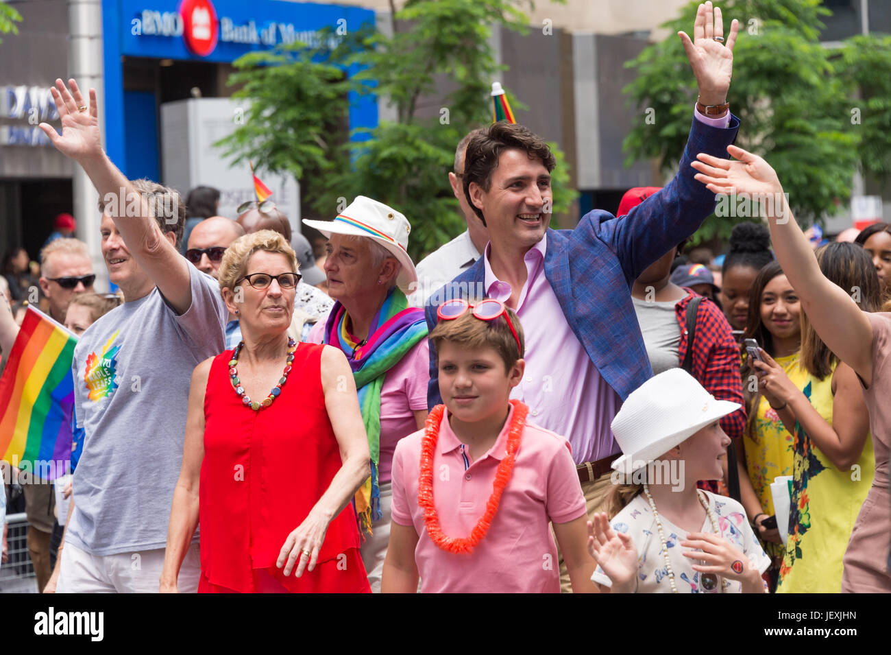Toronto, Canada. 25 June 2017. Canadian Prime Minister Justin Trudeau, Ontario PM Kathleen Wynne and Trudeau's - Stock Image