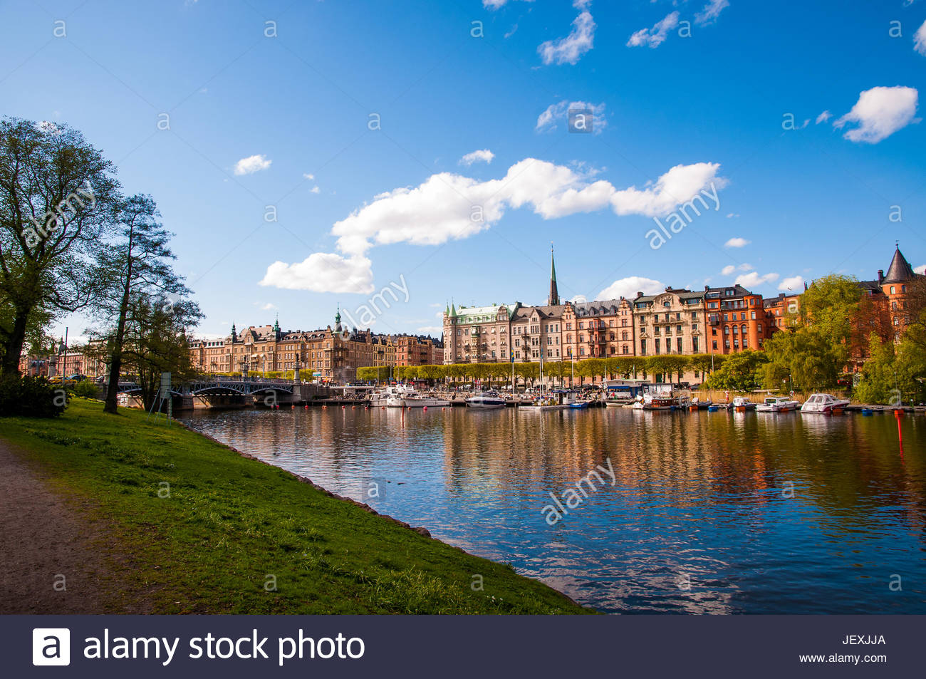 Historical buildings, monuments, museums, and galleries in Stockholm's city park, Djurgarden. - Stock Image
