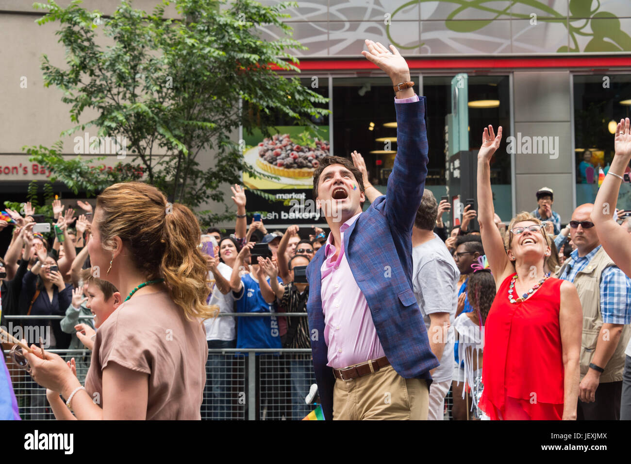 Toronto, Canada. 25 June 2017. Canadian Prime Minister Justin Trudeau and Ontario PM ontario prime minister during - Stock Image