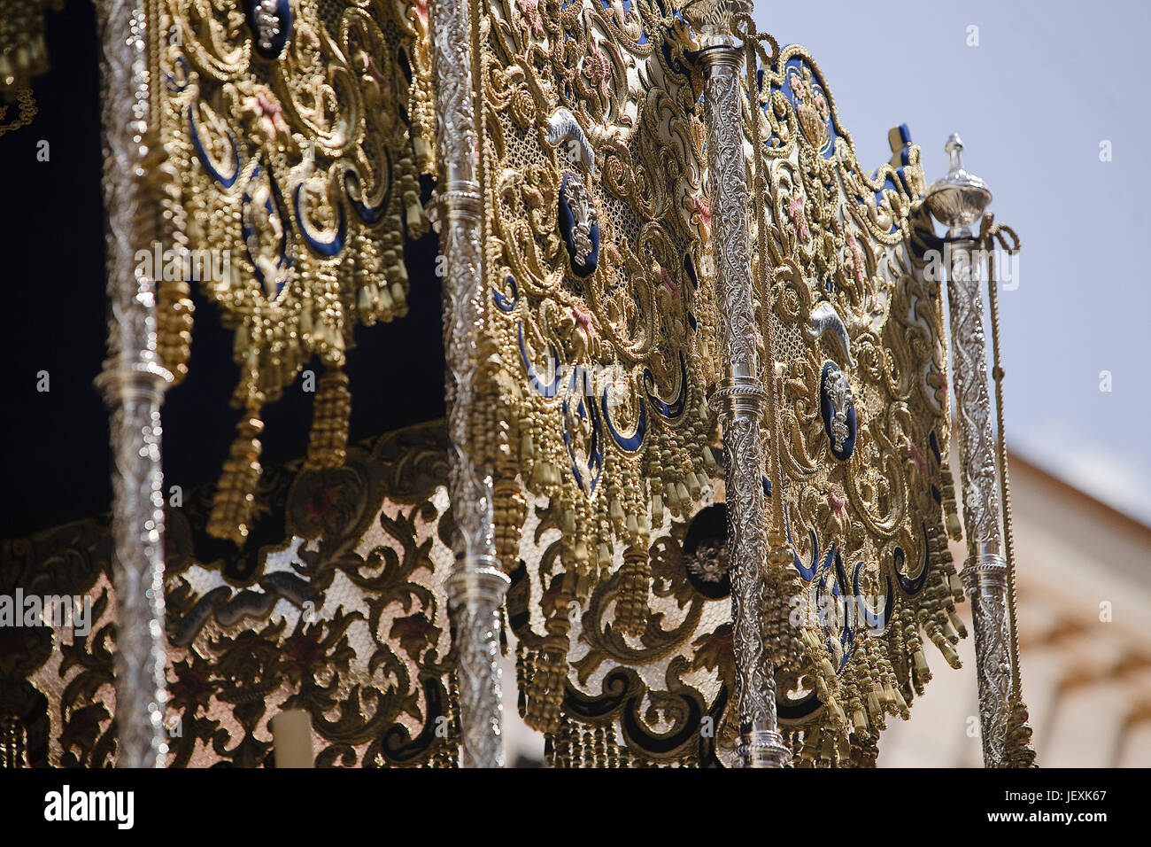 Detail of one side of a pallium embroidery in a throne during a procession of holy week, Seville, Spain - Stock Image