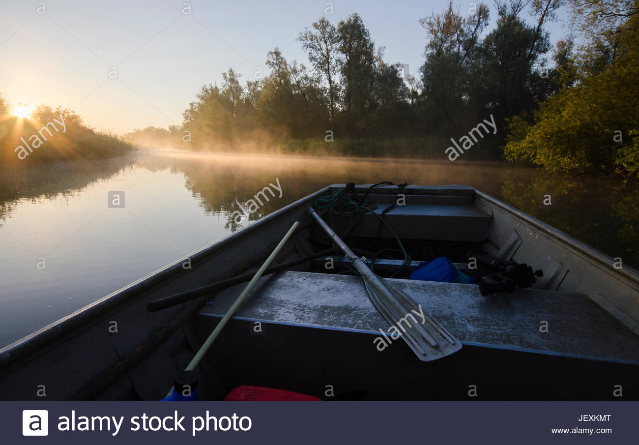 A photographer's boat at sunrise as he heads out to search for great crested grebes. Stock Photo